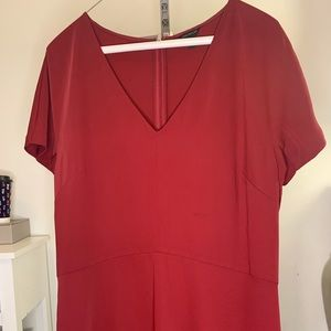 Red Ann Taylor Dress, V-Neck & Flared out at Waist